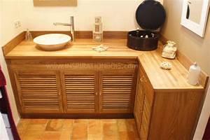 meuble vasque sur mesure en teck meuble vasque en bois With meuble salle de bain double vasque d angle