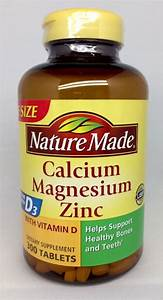 Nature Made Calcium Magnesium Zinc Vitamin D3 Dietary Supplement 300 Tablets New