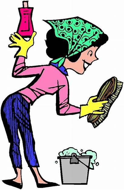 Chores Cartoon Cleaning Clipart Woman Cliparts Mother