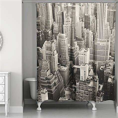 designs direct  york city shower curtain  whitegrey