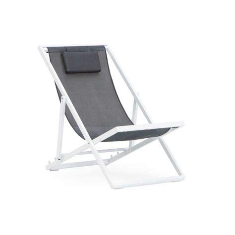 chaise pliante jardin chaise longue pliante jardin aluminium blanc et textilene