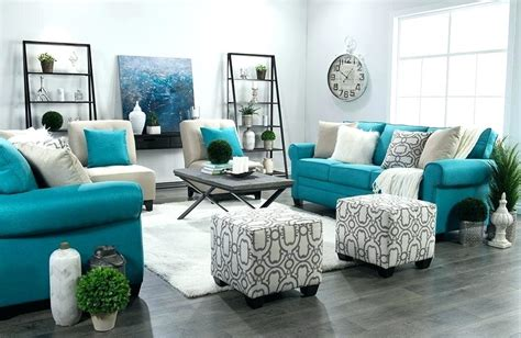 White Grey And Teal Living Room Decor