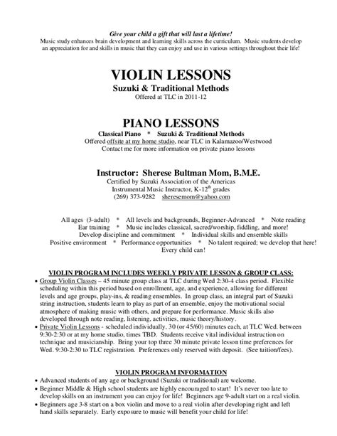 Violinist Resume by Sherese Violin Piano Lessons