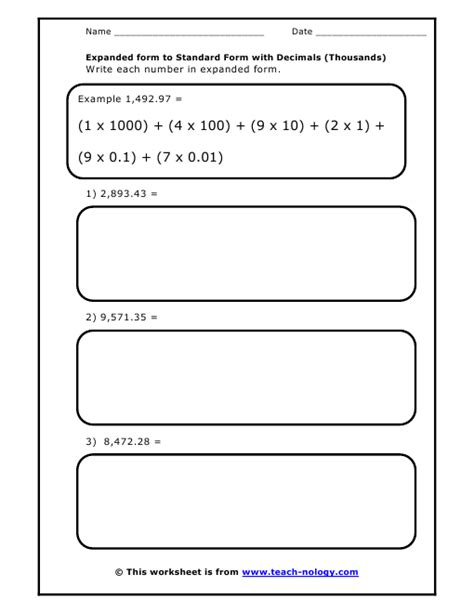 standard form to expanded form with decimals thousands