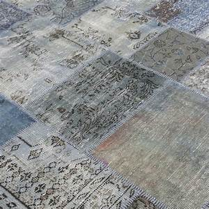 Gris bleu vintage tapis de patchwork 210x303cm for Tapis gris bleu