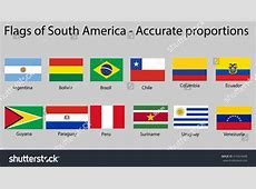 Flags South America Continent Names Proper Stock Vector