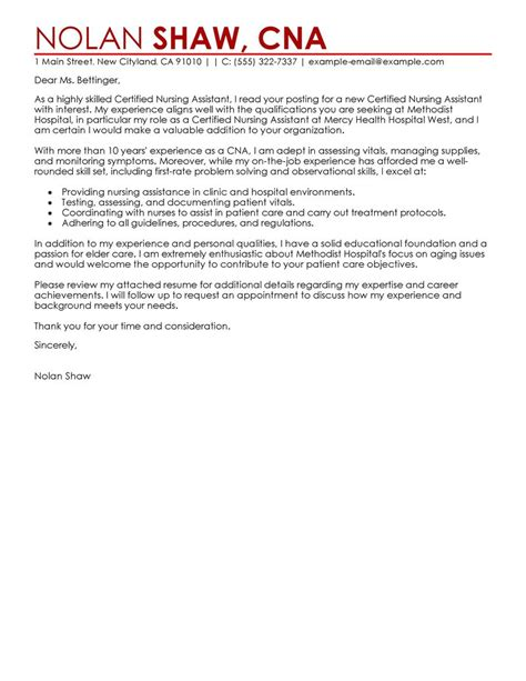 nursing aide  assistant cover letter examples livecareer