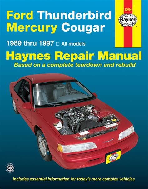 manual repair autos 1995 ford thunderbird security system cougar haynes manuals