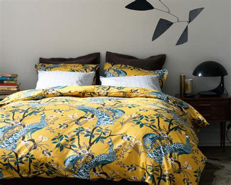 Peacock Bedding by Dwellstudio Peacock Citrine King Duvet Cover And Shams