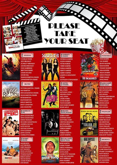 blockbuster movie themed wedding table plan kari s
