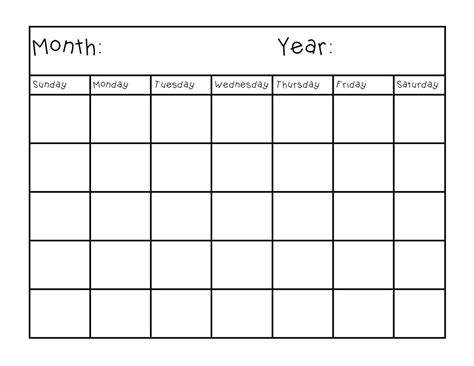 Blank Calendar Pages for Customized Schedule