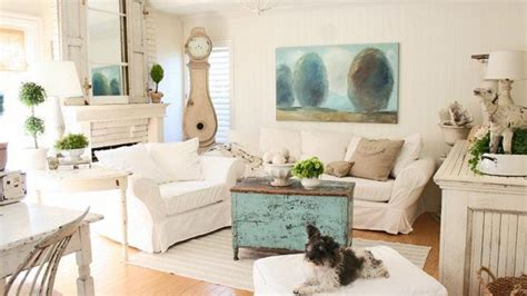 distressed  pretty white shabby chic living rooms home design lover