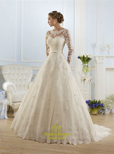 illusion long sleeve open  lace   ball gown