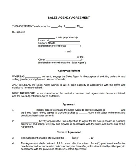 sales agency agreement templates word