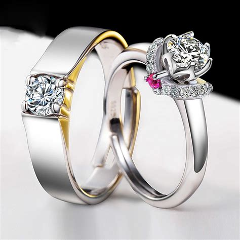wedding rings for couple 925 silver plated white gold beautifully wedding engagement couple rings couple rings
