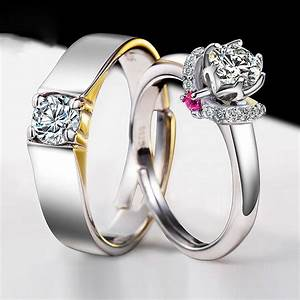 925 silver plated white gold beautifully wedding With couples wedding rings