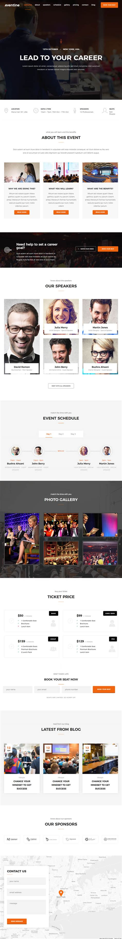 Onepage Theme Eventine Conference And Event Onepage Theme