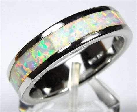 white fire opal inlay  sterling silver eternity band