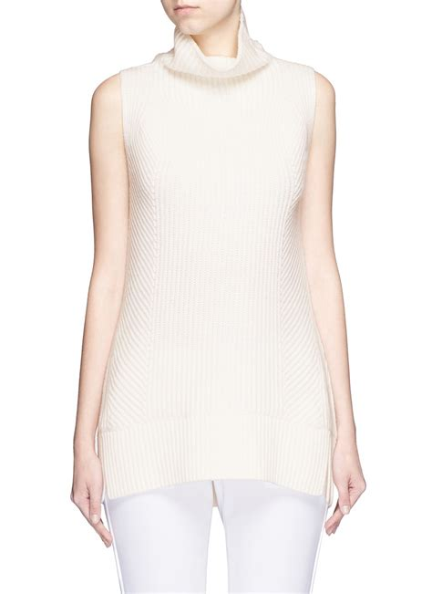 sleeveless turtleneck sweater vince directional rib wool sleeveless turtleneck