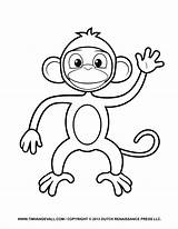Monkey Coloring Pages Printable Cartoon Clipart Templates Crafts Parents Creative Project sketch template