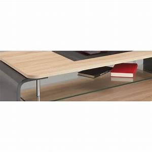 Table Basse Bois Gris : table basse design verre et bois ch ne clair gris brillant ~ Melissatoandfro.com Idées de Décoration