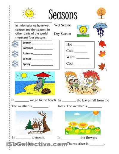 season  images english worksheets  kids