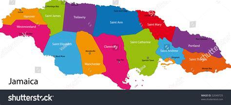 map jamaica parishes colored bright colors stock