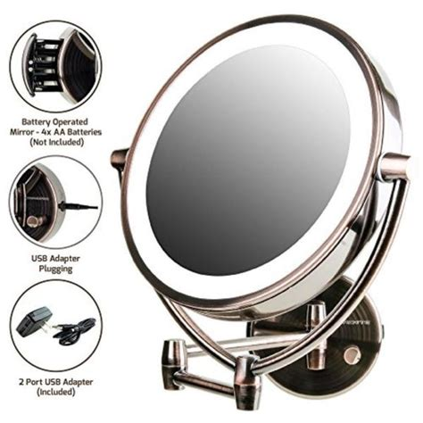 ovente wall mirror battery or usb adapter operated dimmable led lighted makeup mirror