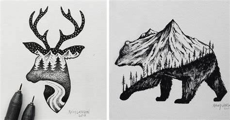 miniature hybrid illustrations  wild animals combined