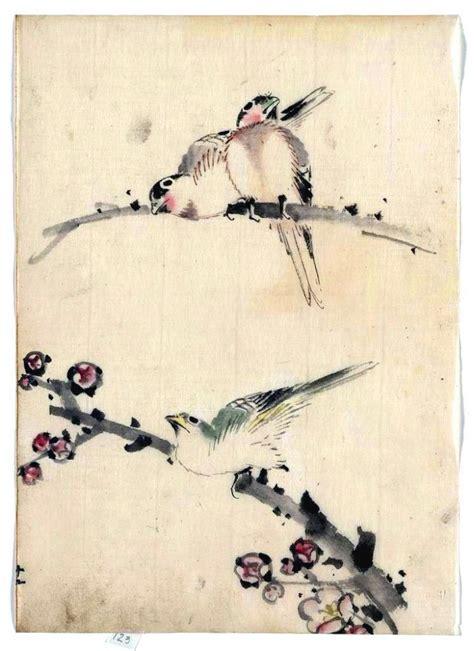 art asian animal bird japanese  branch