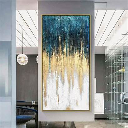 Painting Abstract Canvas Acrylic Framed Living Teal