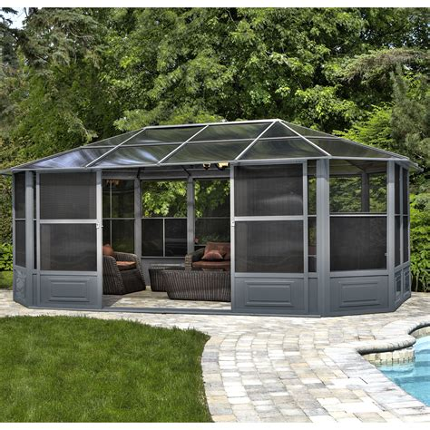 gazebo penguin season solarium ft ft metal permanent gazebo reviews wayfair