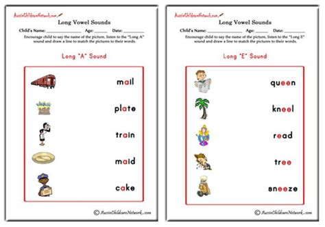Long Vowel Sounds Matching Pictures