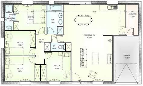 plan maison 4 chambre plan maison plain pied 4 chambres