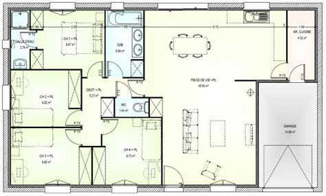 plan maison plain pied 3 chambres avec garage plan maison plain pied 4 chambres