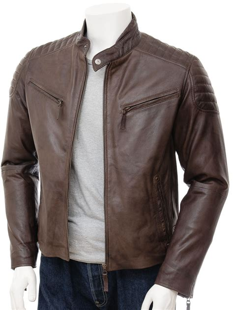 zipped jacket mens brown biker leather jacket maikop caine