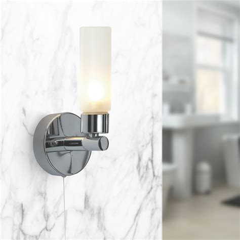 pair of modern chrome ip44 bathroom wall light with pull cord switch zone 2 3 710560386482 ebay