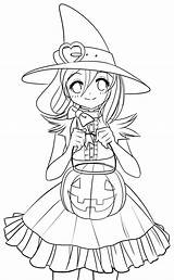 Coloring Halloween Pages Anime Printable sketch template