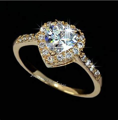 18k gold white gold gp swarovski wedding engagement ring free ship ebay