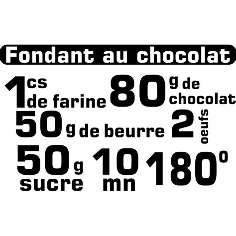 cuisine et citation sticker citation recette fondant au chocolat stickers