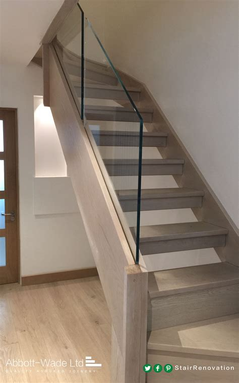 glass stair banisters abbott wade open tread stained oak staircase with
