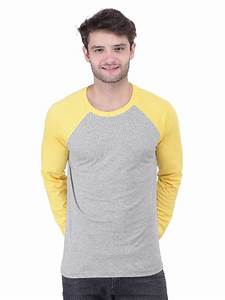 Nologo Grey & Yellow Raglan Sleeves T-shirt Nologo-fst