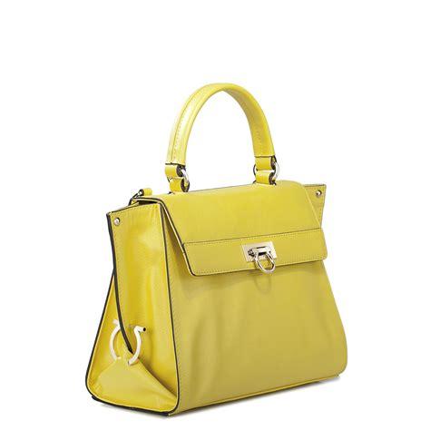 Cowhide leather women fashion tote bag Yellow