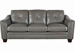 cindy crawford home marcella gray leather sofa sofas gray With rooms to go gray leather sectional sofa