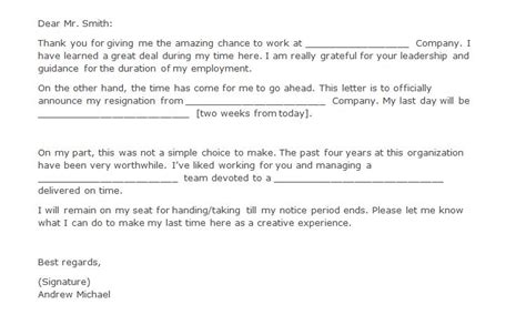 two weeks notice letter 40 two weeks notice letters resignation letter templates