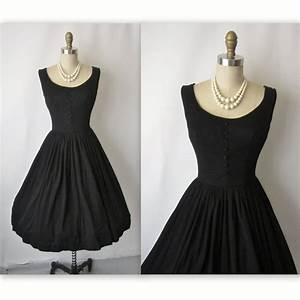 50's Cocktail Dress // Vintage 1950's Black Cocktail