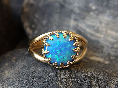 Opel Ring by Opal Gold Ring Gemstone Ring Blue Opal Ring October