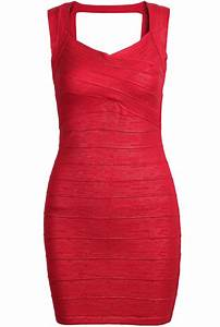 Red Sleeveless Skinny Bodycon Bandage Dress -SheIn(Sheinside)