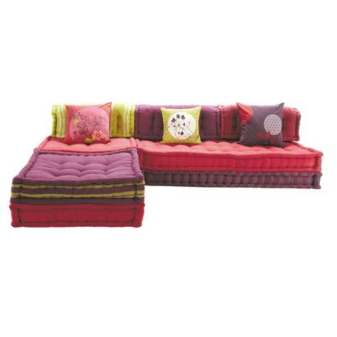 canapé d angle multicolore banquette d 39 angle modulable 6 places en coton kimimoi
