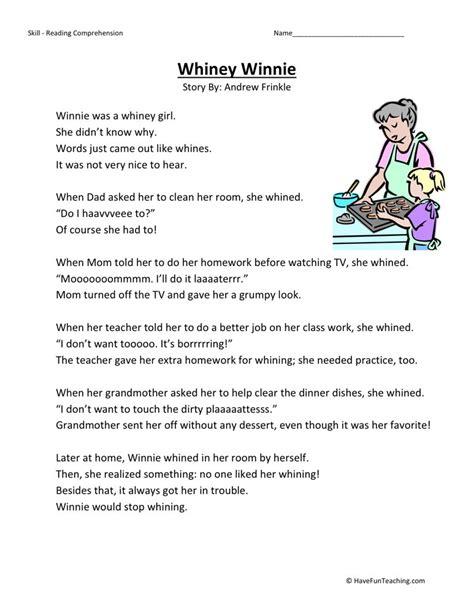 reading comprehension worksheet winnie